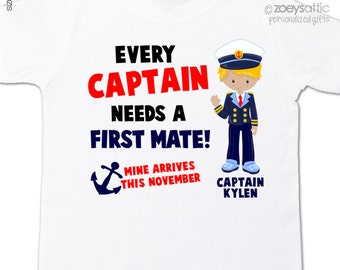 captain first mate big brother shirt - nautical theme pregnancy announcement Tshirt