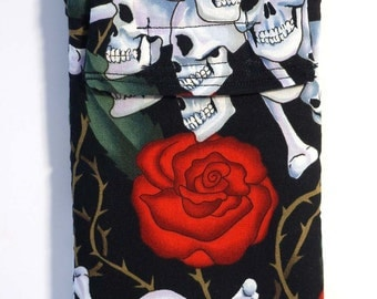 gadget pouch,  Skulls and Roses Cell Phone Case, glasses case, velcro pouch