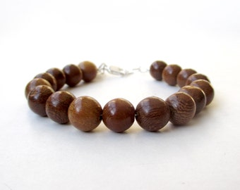 Narra Wood Bead Bracelet - 10mm Beads - Everyday Wear - Wood Ball Bracelet - Sterling Silver or 14k Gold Fill Components