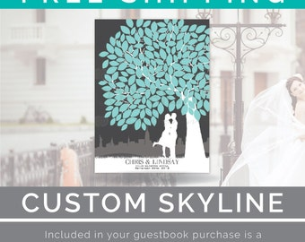 Wedding Tree Guestbook // A Personalized Skyline & Couple Silhouette Print // 100+ Signature Guestbook Print // W-T05-1PS HH3