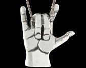 Love Sign Pendant - Sterling Silver Jewelry - ASL Jewelry - Sign Language - Symbol of Love - Gift for Mom - Great Gift - Valentines Day Gift