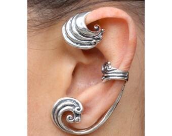 Ear Wrap Wave Ear Wrap Wave Ear Cuff Wave Jewelry Wave Earring Fashion Ear Wrap Non Pierced Ear Wrap Ocean Earrings Ocean Inspired Silver