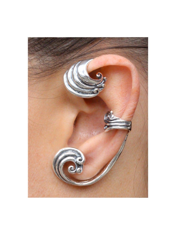 Ear Wrap Wave Ear Wrap Wave Ear Cuff Wave Jewelry Wave Earring