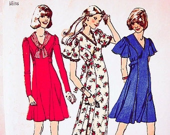 1970s Dress Pattern Misses size 10 Womens Flutter Sleeve Dress, Side Front Tie Belt Maxi Dress, Mini Dress Vintage Sewing Pattern