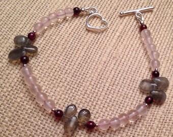 Labradorite Bracelet, Rose Quartz Bracelet, Garnet Bracelet, Sterling Silver Heart Toggle, Grey Burgundy Pink Bracelet