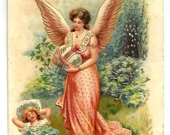 1908 - ANGEL, Little GIRL,decorated EGG - Vintage Embossed Nice Greetings Postcard- pink gold, blue gold dresses - very good condition