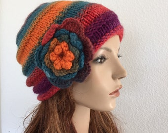 Hand knit wool hat multi-color woman hat crochet flower-CH