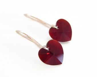 Red heart crystal earrings - Valentine's Day