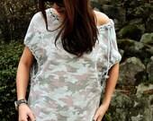 Women's cotton tshirt/ Camouflage tshirt / crochet tshirt / loose fit top / off-shoulder top - KT569