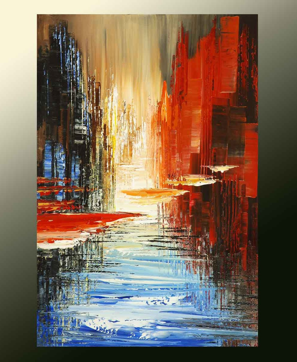 100 Hand Drawn City At Night 3 Knife Painting Modern: Abstract Cityscape Painting Skyline Urban City Waterdront