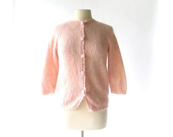 Pink Mohair Sweater / 1960s Cardigan / Pink Cardigan / Medium M