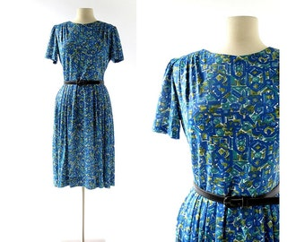 Vintage 50s Dress | Etruscan Villa Dress | 1950s Blue Dress | Large L