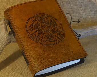 A5, Medium, Leather Bound Journal, Celtic Hounds, Celtic Journal, Brown Leather, Dog Journal, Leather Notebook, Blank Book, Personalized.