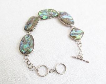 Elegant Sterling Silver and Abalone Seashell  Link Bracelet