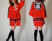 Cotton Kimono Vintage Red Japanese Draped Boho Kimono Robe  (one size)