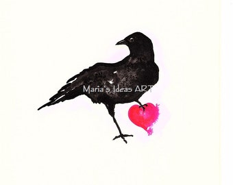 Crow art, Black crow with Heart, Pink Heart, crow holding heart, black bird art