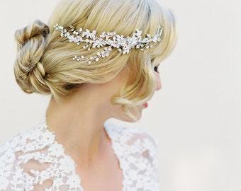 Bridal Hair Comb, Swarovski Crystals, Floral Hair Piece, Hair Vine, Weddings, Bridal Accessories, Crystal Halo, Crystal Wreath, 1504