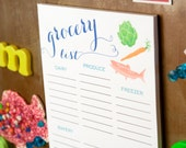 Master Grocery List - Magnetic Notepad for your Kitchen - Grocery Doodle Design - Shopping List