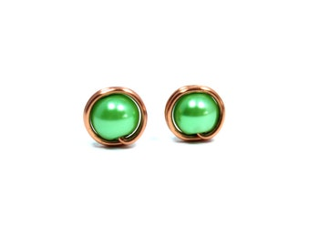 Green Stud Earrings, Green Earrings, Green Pearl Studs, Wire Wrapped Studs, Green Pearl Posts, Copper Stud Earrings, Copper Studs