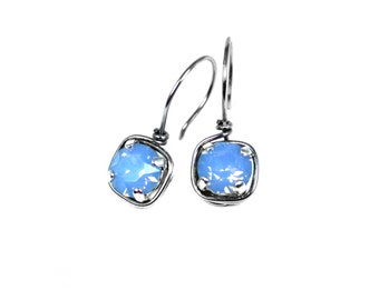 Blue Opal Earrings, Opal Dangle Earrings, Wire Wrapped, Stainless Steel Earrings, Blue Earrings, Swarovski Crystal, Rhinestone Earrings