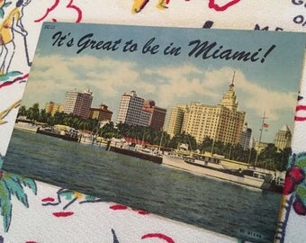 "Vintage Miami Florida  postcard ""It's Great to be in Miami"" 1940s linen souvenir postcard boats skyline kitsch"
