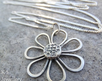 Sterling Silver Flower Pendant Necklace - RUSTIC DAISY- Handmade Metalwork Textured Wire Flower Jewelry - Oxidised or Bright Shiny