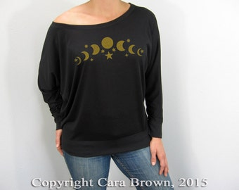 Moon Phases women's long sleeve t shirt loose soft comfortable celestial stars full crescent moon