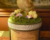 Easter Box with Chick and Spring Flowers