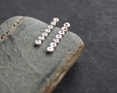 Sterling Silver Dotted Circles Stud Post Earrings, 7 Dot Line Minimalist Metalwork Jewelry