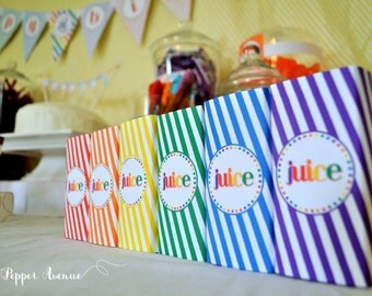 Rainbow Paint Party Juice Box Wrappers - Instant Download - DIY Printable PDF File