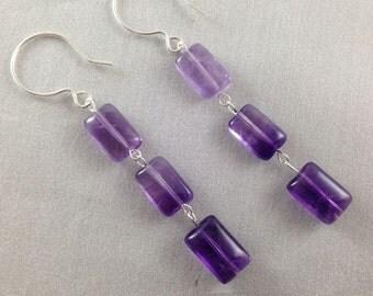 Long Amethyst & Sterling Silver Earrings, Amethyst Dangle Earrings, Amethyst and Silver Drop Earrings, Amethyst Dangle Earrings, Wedding