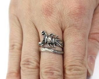 Scorpion Ring Silver Scorpion Ring Scorpion Wrap Ring Scorpio Ring 434