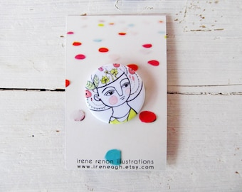 Spring girl pin, minimal button brooch