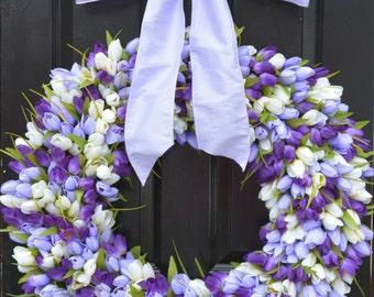Mini Tulip Spring Wreath- 28 inch Tulip Wreath- Spring Wreath for Door
