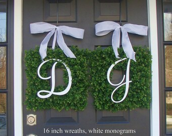 Monogram Boxwood Wreath, Monogram Wedding Wreath, Spring Wreath,  Housewarming Gift, Wedding Wreath, Summer Wreaths THIN WREATH Storm Doors