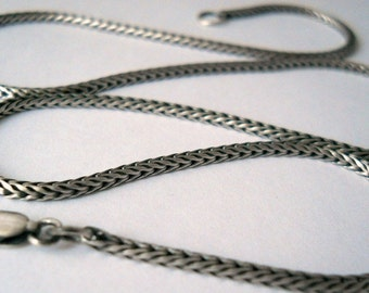 select your length, sterling silver chain, 2 mm foxtail chain, with clasp, unisex chain, MADE TO ORDER