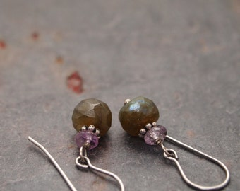 Amethyst and Labradorite Earring