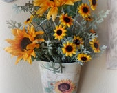 Cream Wall pocket with Sunflowers