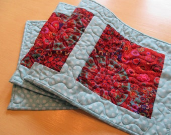 Modern Table Runner - Quilted Table Runner -  Red And Blue Kaleidoscope - Kaffe Fasset
