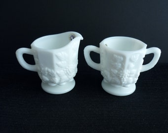 Vintage Westmoreland Paneled Grape Creamer Open Sugar Bowl Set White Milk Glass