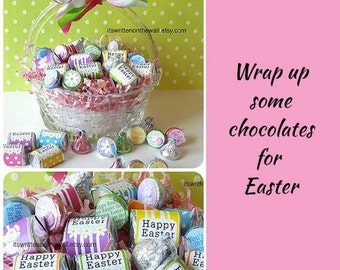 18 Easter Hershey Nugget Wraps, Easter Basket Candy,  Easter Egg Hunt, Teacher Appreciation, Co-Workers Treats, Office Treats, Gifts