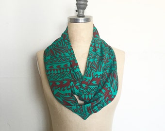 Infinity Scarf, Jade Tribal Print, Boho Scarf, Ready to Ship