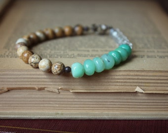 Seamaiden. Bohemian Beach Gypsy Picture Jasper Chrysoprase and Vintage Glass Beaded Bracelet.