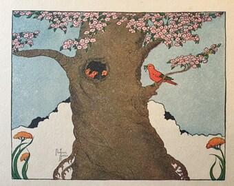 Bird Nest ~Vintage Children's Print, Illustration, Book Plate ~Nursery decor ~ Florence Notter ~Rainbow Painting Crayoning book