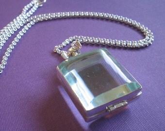 Glass Locket Necklace - Square Sterling Silver on Sterling Silver Chain - Keepsake Item (GLS-01)