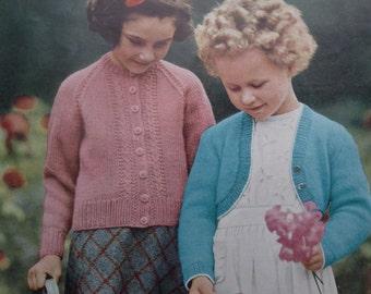 "Vintage Knitting Pattern Girls Bolero Cardigan Jacket 1950s 1960s - original 50s 60s children's pattern P&B UK C-389 - 24"" 26"" 28"" chest"