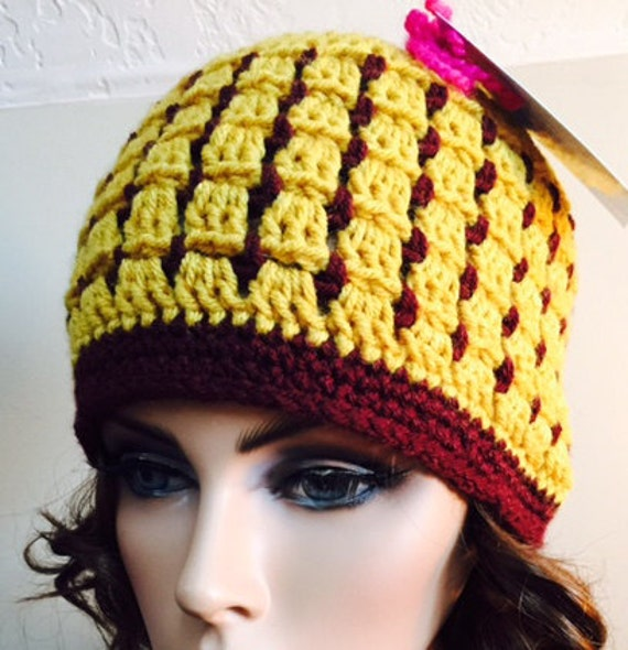 Stained glass look hat with gold and burgundy from soft worsted
