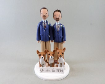 Same Sex Couple with Dogs Custom Made Wedding Cake Topper