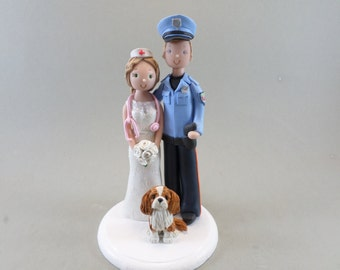 Police Officer & Nurse Personalized Wedding Cake Topper