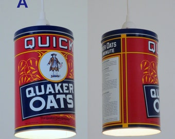Plug-in pendant lights - Quaker Oats tins - 3 different designs and sizes. BUY all 3 and get FREE SHIPPING!